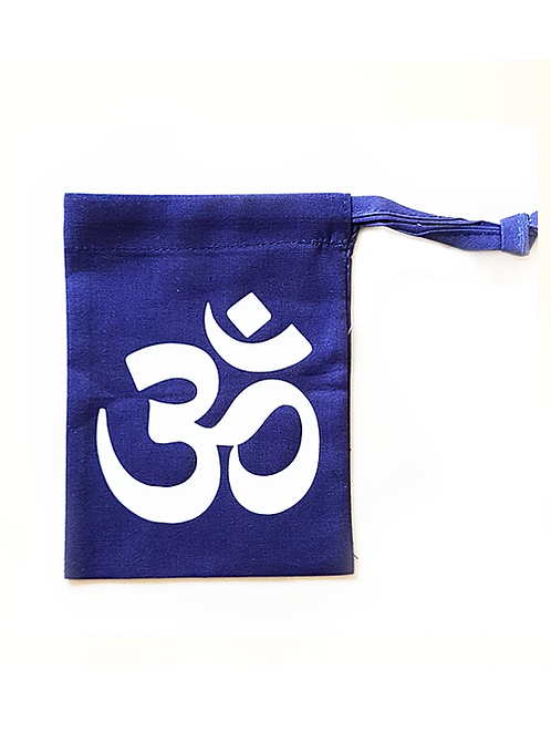 Om crystal divination bag for storing tumbled stones and crystals