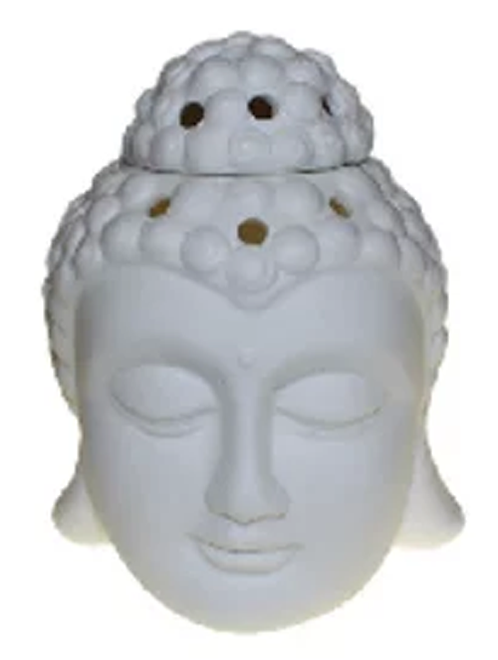 White Buddha Head Essential Oil and Wax Melts Burner for Natural and Organic Oils