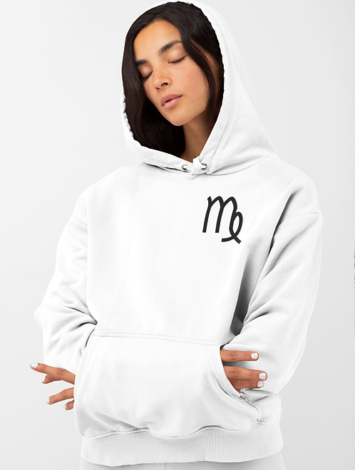 Woman modelling a white Virgo Zodiac and spiritual hoodie against a white background