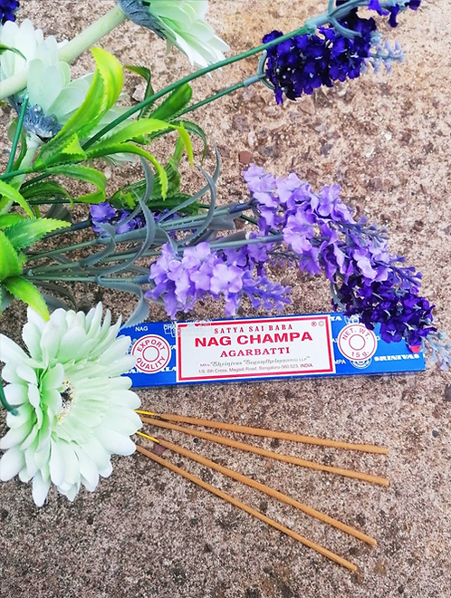 Box of Nag Champa Incense Sticks to create the perfect mood for relaxation and spiritual healing against a natural background