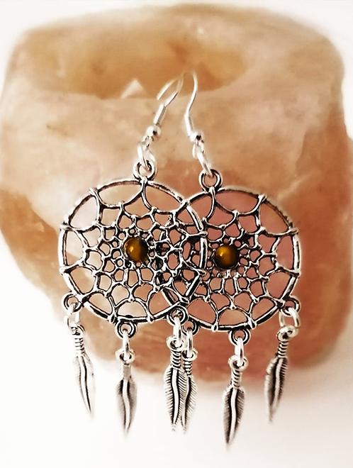 Dream Catcher Earrings Genuine Gemstone Crystal, Hematite, Green Moss Agate-Symbolism Native American Dreams Silver Jewellery