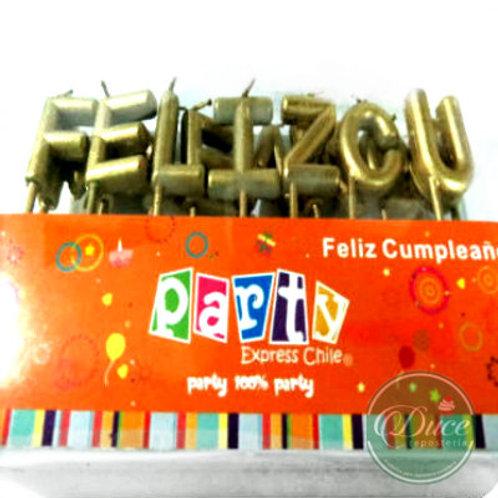 Velas Feliz Cumpleaños Doradas/Plateadas
