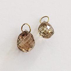 Diamant brioletter, brune diamanter, facetter, halvfabrikata, 750