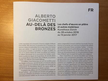 """Brochure accompagnant l'exposition """"Giacometti - Au-delà des bronzes"""" au Kunsthaus Zürich, 2016"""