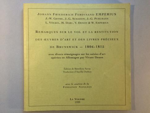 Emperius, Remarques sur le vol et la restitution des œuvres d'art de Brunswick
