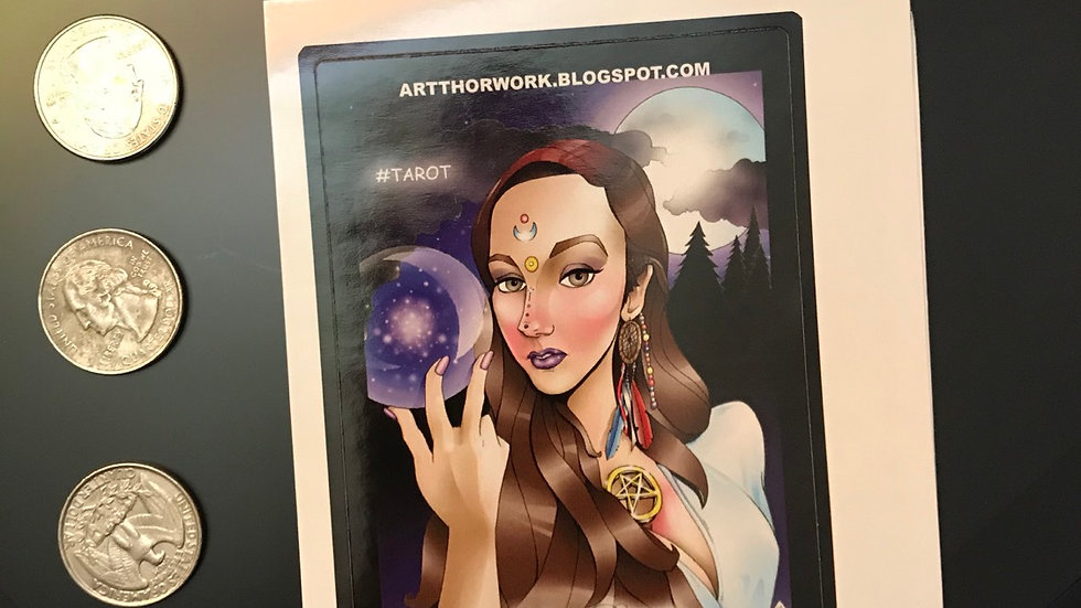 (All ages) Tarot card sticker with original art