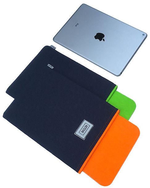 iPad için turuncu ve yeşil renkli kumaş ve keçeden üretilmiş özel tasarımlı iPad kılıfları