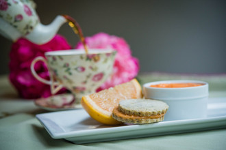 Earl Grey Shortbread Sandwiches filled with Pink Grapefruit Curd