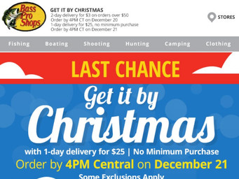 Bass Pro Shops: Still can be delivered in time for Christmas