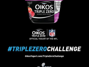 Oikos Yogurt looking for a lot of offense in Super Bowl with #TripleZeroChallenge