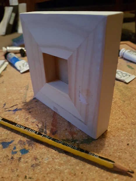 "Reverse of smallest cradled panel (4"" x 4"" / 10cm x 10cm)"