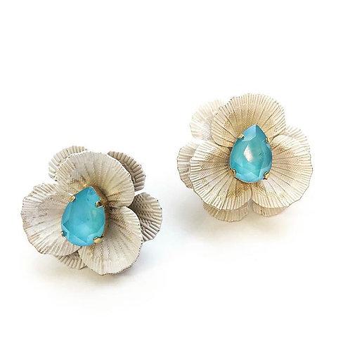 Pendientes flor con pedrería en azul