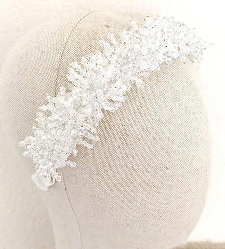 Diadema joya Silvia blanco