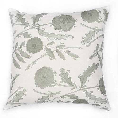 Floral Plate Cushion 03 Grey