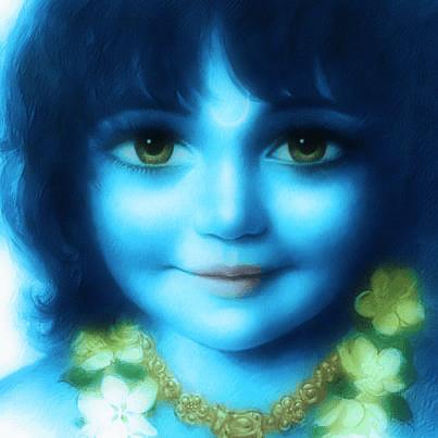 WHAT IS THE DECODATION OF THE BLUE SKINNED SRI KRISHANA ?--