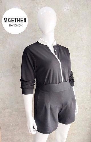 ชุดเสื้อคอจีนผ่าแต่งขอบ & กางเกงเอวสูงขาสั้น(ผ้ายืด)