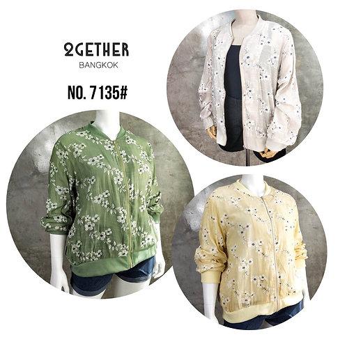 No. 7135# เสื้อแจ็กเกตซิปหน้าผ้าพิมลายนูนขอบยางยืด
