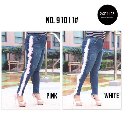 No.91011# กางเกงเอวสูงทรงสกินนี่แต่งขนมิ้ง(ยีนส์ยืด)
