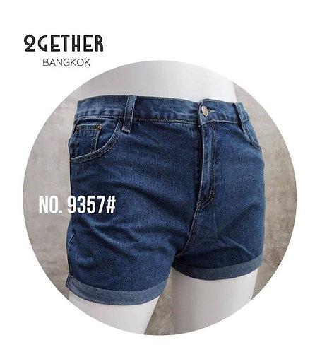 No.9357# กางเกงยีนส์Hkขาสั้นเอวสูง(ผ้าไม่ยืด)