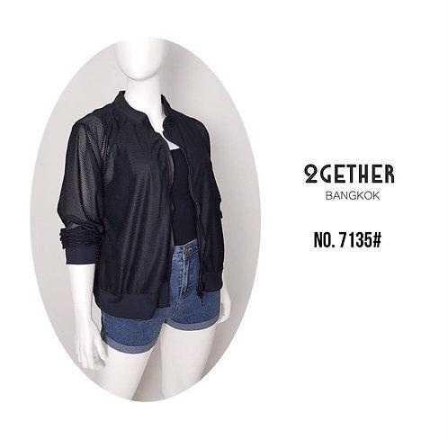 No. 7135# Mesh Zipped Jacket stretching edge เสื้อแจ็กเกตซิปหน้าผ้าตาข่ายขอบยางย