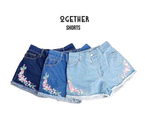 กางเกงขาสั้นยีนส์ปักดอกไม้มุม(หลังสม๊อค) #2
