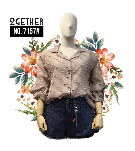 No.7157# เสื้อเชิ้ตเรียบกระดุมหน้า  (ผ้าทอ3D)