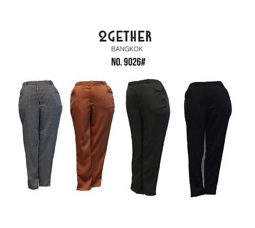 No. 9026# กางเกงเอวสูงขาเดฟ  (สม๊อกหลังซิปหน้า/ กระเป๋า2ข้าง)