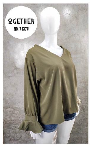 No. 7137# เสื้อผ้าซิลค์คอวีหน้าหลังแขนระบาย