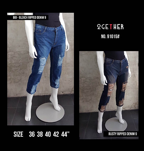 No.91015# กางเกงยีนส์ทรงบอยขา9ส่วนแต่งขาด(ยีนส์ไม่ยืด)