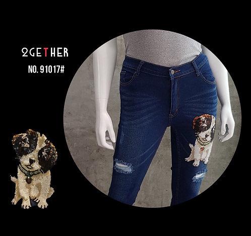 No.91017# กางเกงเดฟยืดขาดเข่าติดเลื่อมลายน้องหมา