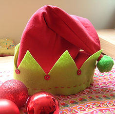upcycled childs handmade elf hat