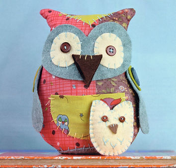 hand sewn patchwork owl softie sewing pattern