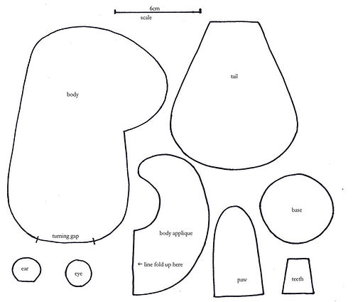 sewing softie pattern beaver templates