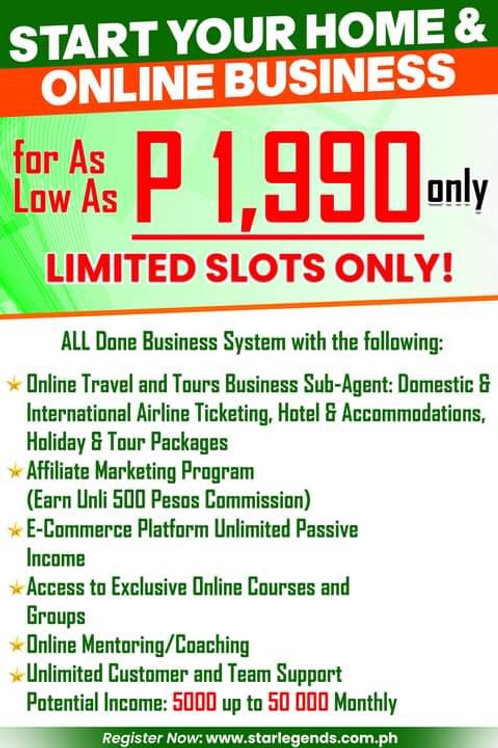 Run Your Home/Online Business for 1,990 Pesos!