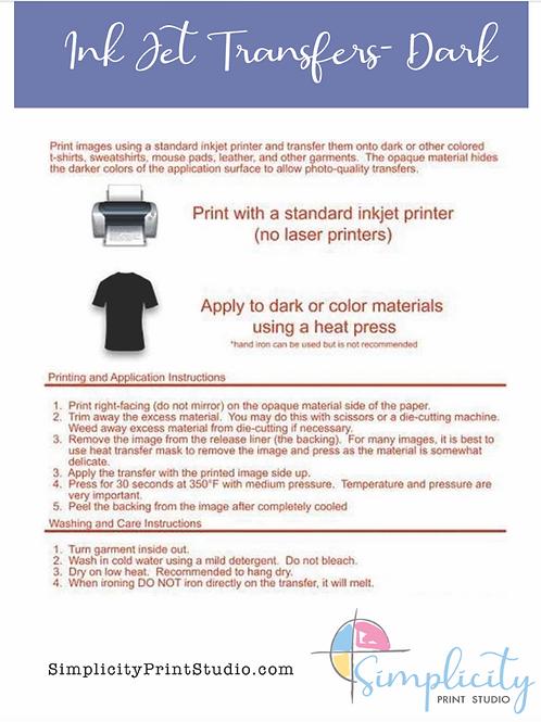 Inkjet Transfer Paper (dark)