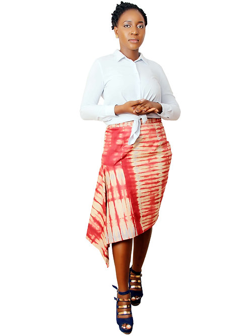 Wine African Skirt | Sade Drape Skirt | Adire tie and dye Skirt front View