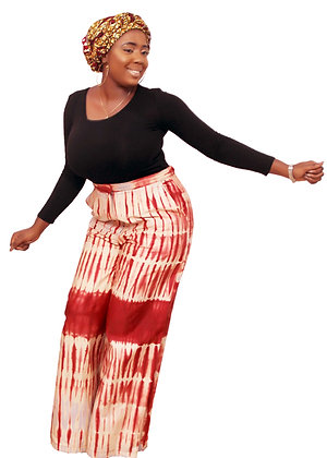 Dele African Palazo Adire Pant. Curvy African Fashion Wide Leg Pant front view