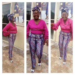 Seti ya Chapisho la Afrian - Ankara wazi na muundo (pant ya Kiafrika na blouse wazi)