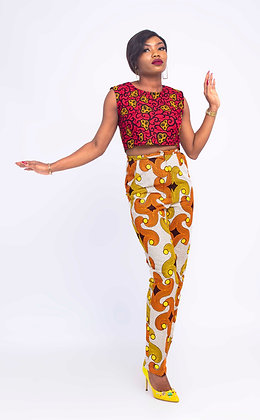 African print pant and crop top   African two pieces pant set