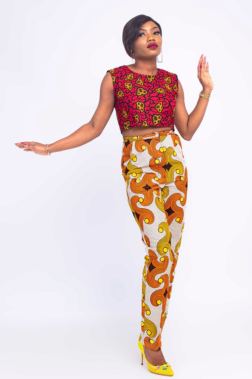 African print pant and crop top | African two pieces pant set
