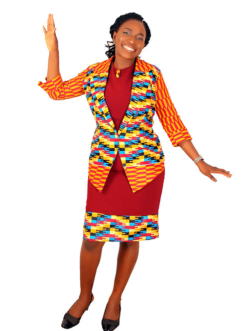Akwete Kente Dress and Jacket  for Ladies | African Print Two Piece