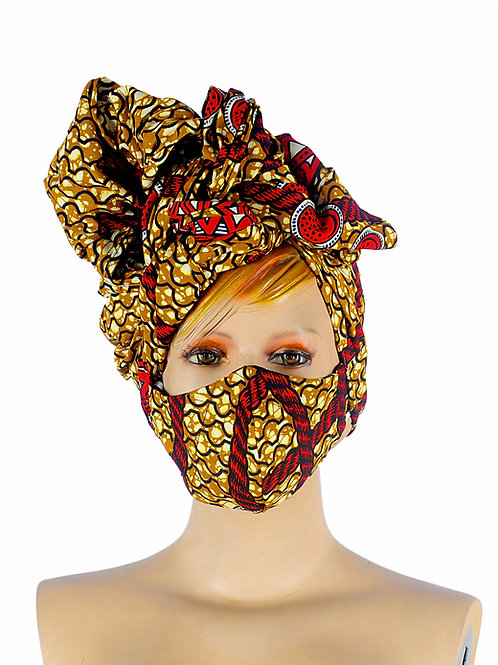 Beautiful African print Head wear wrap with matching face mask. Colours on this fabric / print are wine, gold, black, white