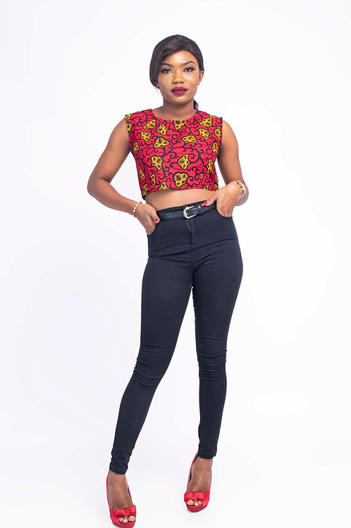 Red African Print Women Crop Top Camisole Blouse - Ify