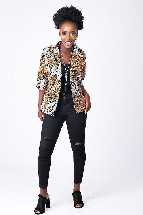 Orange African Print Jackets for Ladies | Ankara Blazer | Formal African Dress