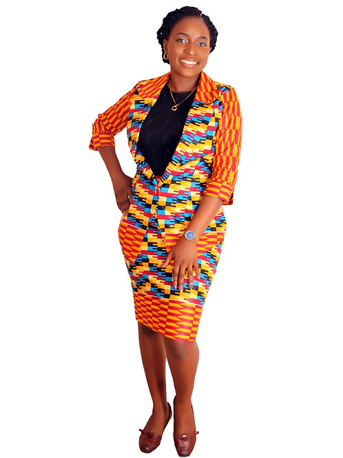 African queen Kente skirt suit. Ankara Two piece set African Print ladies suit by Mieko Michi front view