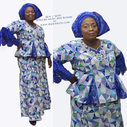 Ankara-romp en bloes chic vir geboë Afrikaanse vroue