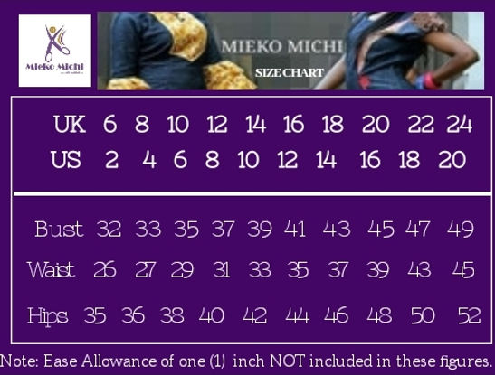 Mieko Michi Women Clothing size chart for shopping online or ordering custom order African wears.
