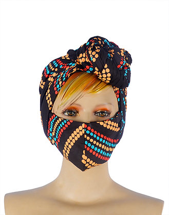 Beautiful African print Head wear wrap for ladies with matching face mask. Colours on fabric are dark brown.  green, coral