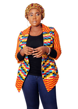 Efua Ankara Two Piece Set | Kente African print Jacket and Ankara Head wrap