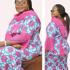 Africa Print romp en bloes met stylvolle kraag